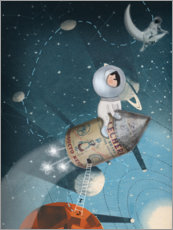 Wood print  Little astronaut - Ximena Jeria