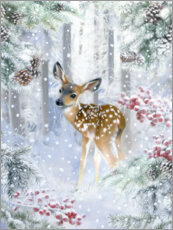 Aluminium print  Fawn in the winter forest - Lisa Alderson