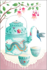 Canvas print  Hummingbird at the tea set - Pimlada Phuapradit