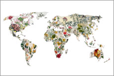 Wood print  Botanical world map - Bianca Green