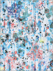 Premium poster Graffiti flowers blue