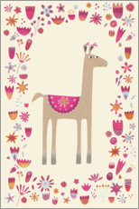 Premium poster  Llama with Flowers - Nic Squirrell