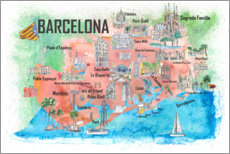 Wall sticker  Barcelona map with sights - M. Bleichner