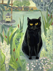 Acrylic print  Black Cat in the Garden - Deborah Eve Alastra