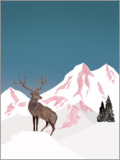Foam board print  Deer in winter - Mantika Studio