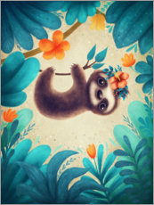 Premium poster  Cute Sloth with flowers - Elena Schweitzer