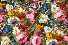 Wood print  Floral pattern III - William Kilburn