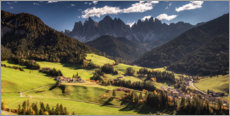 Premium poster Mountain idyll in autumn - Villnöß in the Dolomites