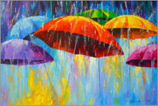 Premium poster  Dancing umbrellas in the rain - Olha Darchuk