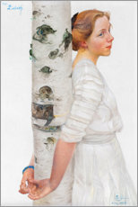 Foam board print  Lisbeth at the birch trunk - Carl Larsson