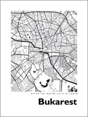 Acrylic print  City map of Bucharest - 44spaces