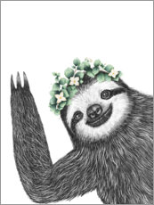 Wall sticker  Sloth with eucalyptus crown - Valeriya Korenkova