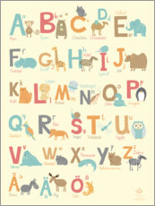 Wood print  Animal alphabet (Swedish) - Petit Griffin