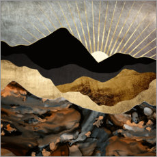 Premium poster  Mountain landscape in copper and gold - SpaceFrog Designs
