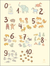 Premium poster  Numbered animals (Swedish) - Petit Griffin