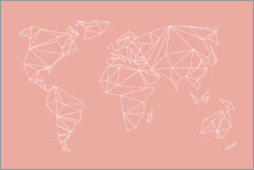 Premium poster Geometric world map, rose