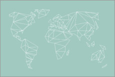 Premium poster Geometric world map, turquoise