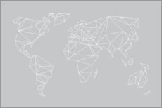 Premium poster Geometric world map, gray