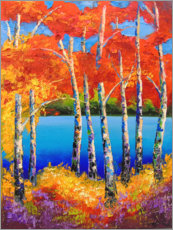 Premium poster Birches by the river