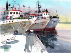 Foam board print  Old fishing boats - Anastasia Mamoshina