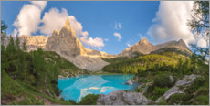 Wall sticker Turquoise waters of the Sorapiss lake