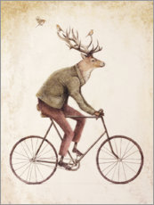 Premium poster Deer on a Bike