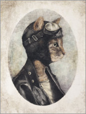 Wood print  Pilot cat - Mike Koubou