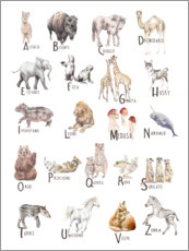 Canvas print  Animal alphabet (Italian) - Wandering Laur