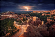 Wood print  Lightning strike over the Bryce Canyon - Stefan Mitterwallner