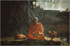 Wood print  Monk in prayer - Adirek M.