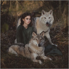 Premium poster  The girl and the wolves - Olga Barantseva