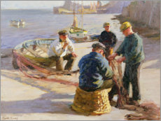 Wood print  Newlyn Harbour: Mending the Nets - Harold Harvey