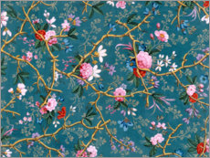 Gallery print  Floral pattern in blue - William Kilburn