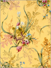 Wood print  Flower pattern in yellow - William Kilburn