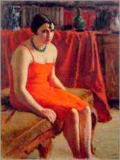 Foam board print  Seated Woman in a Red Dress - Roderic O'Conor