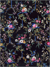 Wood print  Flower pattern in black - William Kilburn