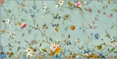 Foam board print  Floral pattern in turquoise - William Kilburn