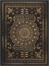 Wood print  Vintage pattern in black and gold - Sybille Sterk
