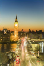 Premium poster Big Ben and Westminster Bridge at Dusk