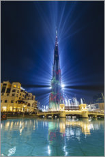 Acrylic print  Burj Khalifa illuminated at night, Dubai - Fraser Hall