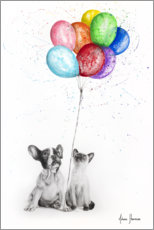 Premium poster Frenchie and Siamese with colorful balloons