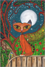 Canvas print  The cat and the moon - Maria Forrester