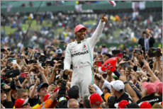 Premium poster Winner Lewis Hamilton crowd surfing with fans, Silverstone 2019