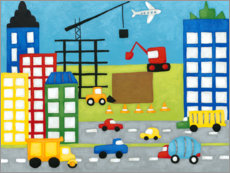 Premium poster Cars and construction site in the city