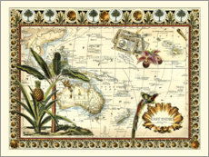 Premium poster  Tropical Map of East Indies - Vision Studio