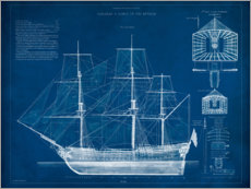 Aluminium print  Antique Ship Blueprint III - Vision Studio