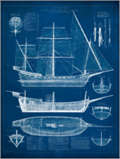 Wall sticker  Antique Ship Blueprint I - Vision Studio