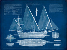 Premium poster  Antique Ship Blueprint II - Vision Studio