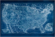 Gallery print  US Map Blueprint - Vision Studio