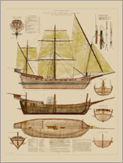 Aluminium print  Antique ship plan - Vision Studio